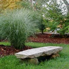 Rustic Stone Garden Bench