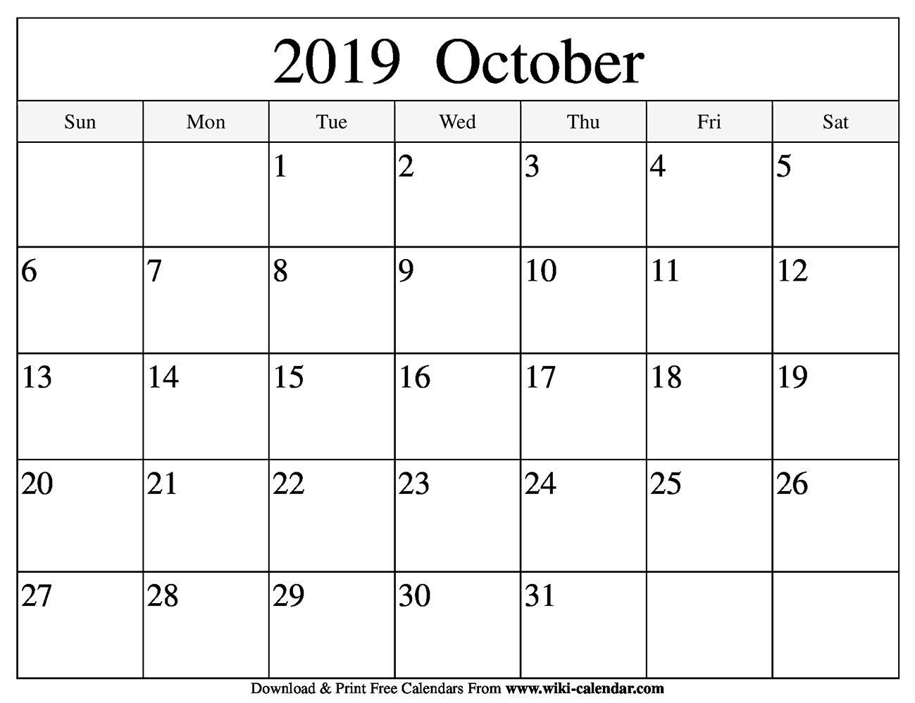 Blank October 2019 Calendar October2019calendar