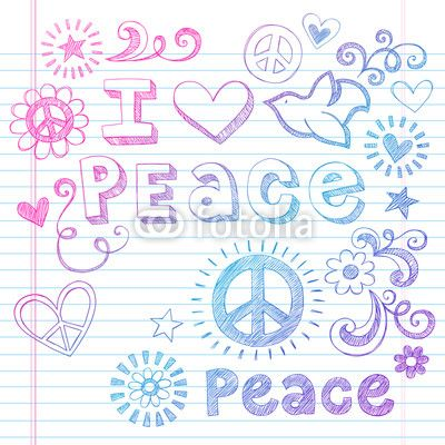 Peace and Love Dove Sketchy Notebook Doodles Vector