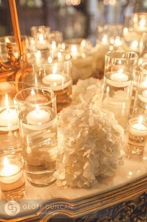 The Ballroom Mantle Will Be Accented With Pillar Candles In Cylinder