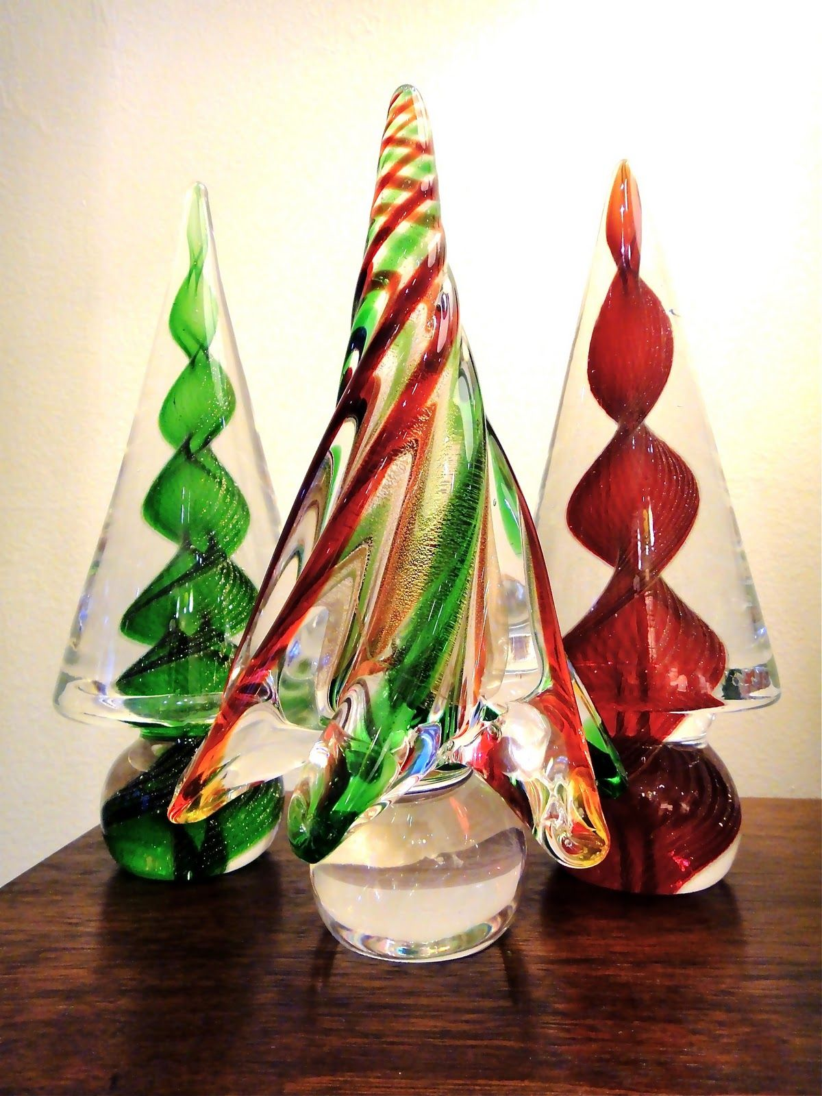 murano glass christmas trees  Art Glass from Venice Italy