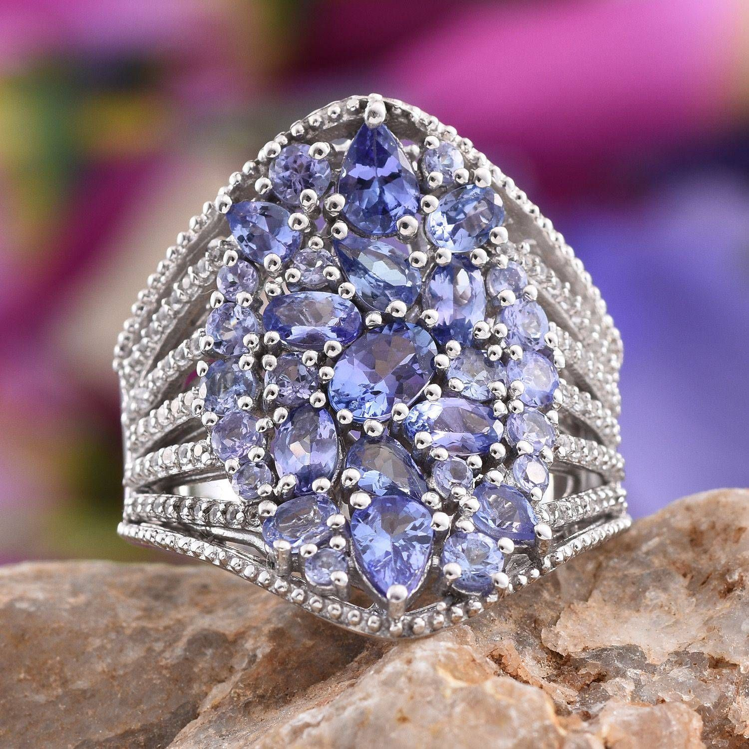 Tanzanite (Pear), White Topaz Ring in Platinum Overlay Sterling Silver Nickel Free (Size 6.0) TGW 5.532 cts.