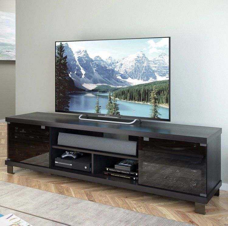 Extra Wide TV Stand 80 Inch Black Flat Screen Entertainment Center