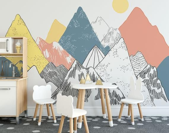 Hand painted mountain with yellow sun kids bedroom