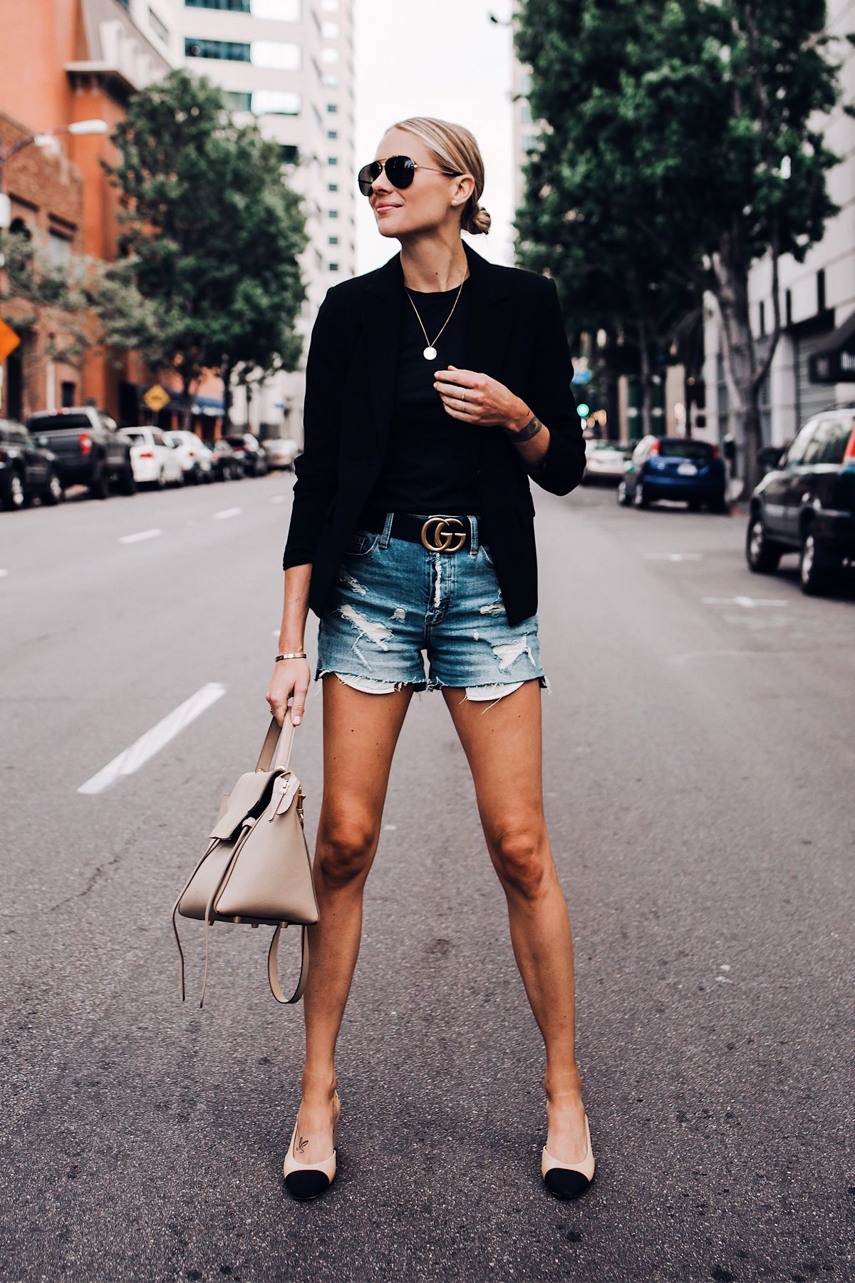 ec778775ee1d2 Blonde Woman Wearing Black Blazer Black Tshirt Denim Ripped Shorts Gucci  Logo Belt Chanel Slingbacks Celine Mini Belt Bag Aviator Sunglasses Fashion  Jackson ...