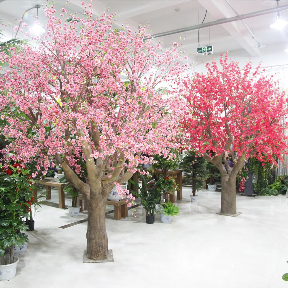 High Quality Silk Artificial Pink Peach Blossom Tree Landscape