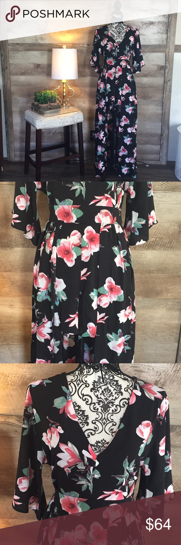 99bca5806bdb NWT Floral Maxi Dress w Built In Romper New with tags. Cutout back.