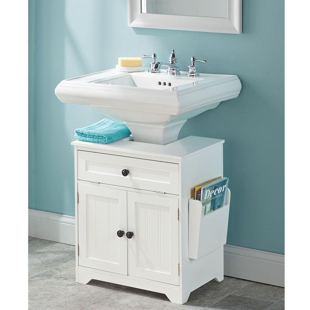 The Pedestal Sink Storage Cabinet - Hammacher Schlemmer | Henry St ...