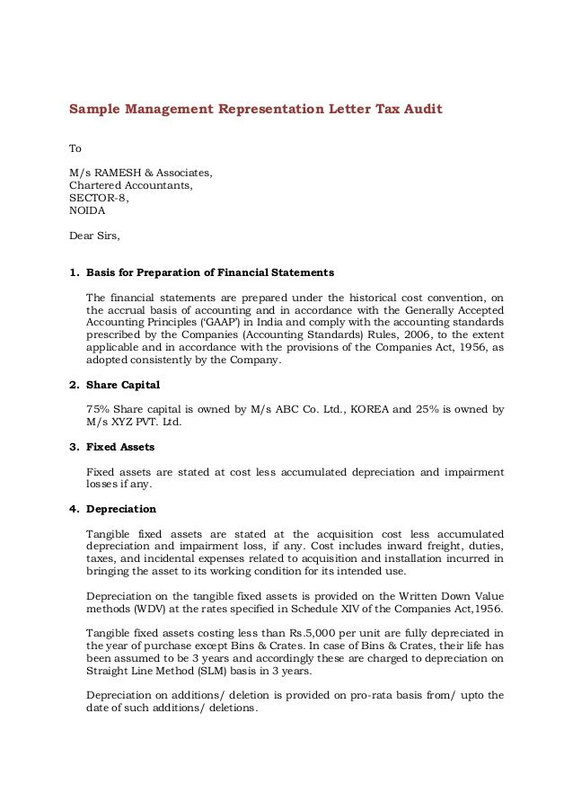 Sample Management Representation Letter Tax Audit To M/s RAMESH