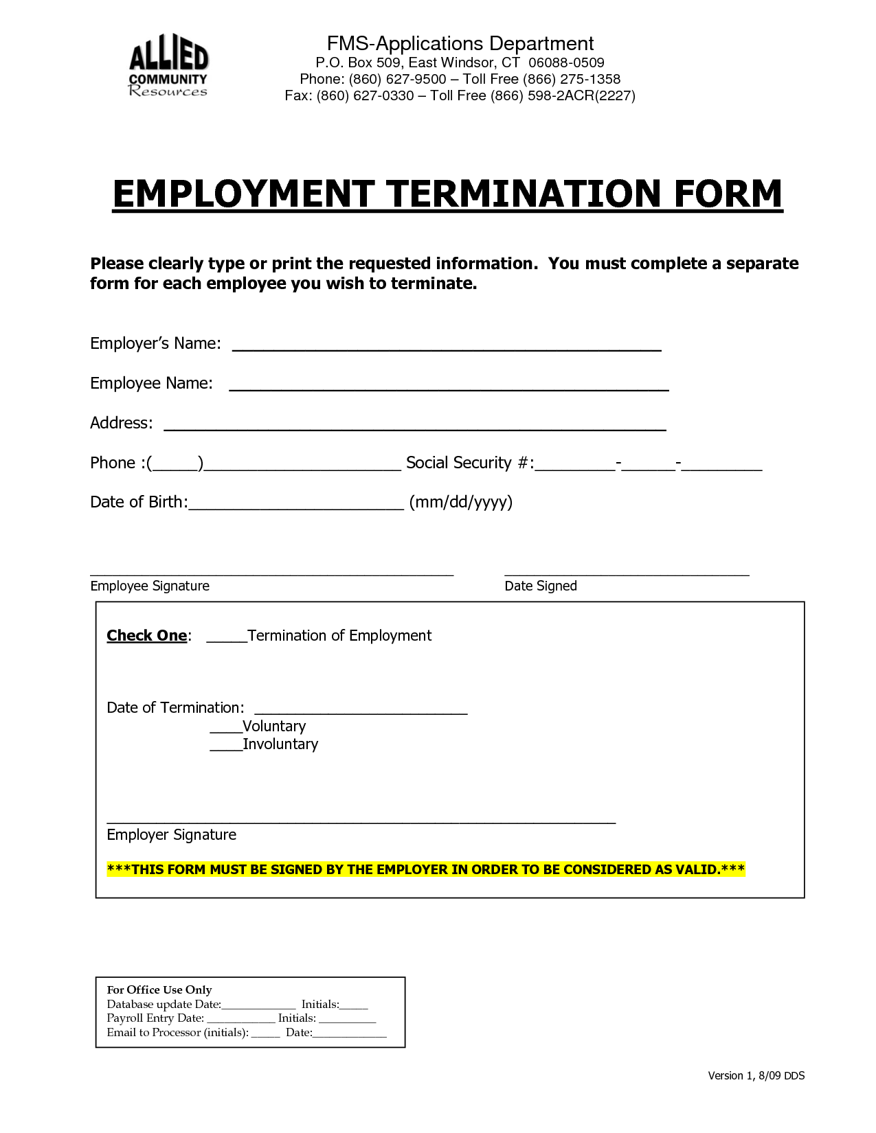 Employment Termination Form  Employee Forms