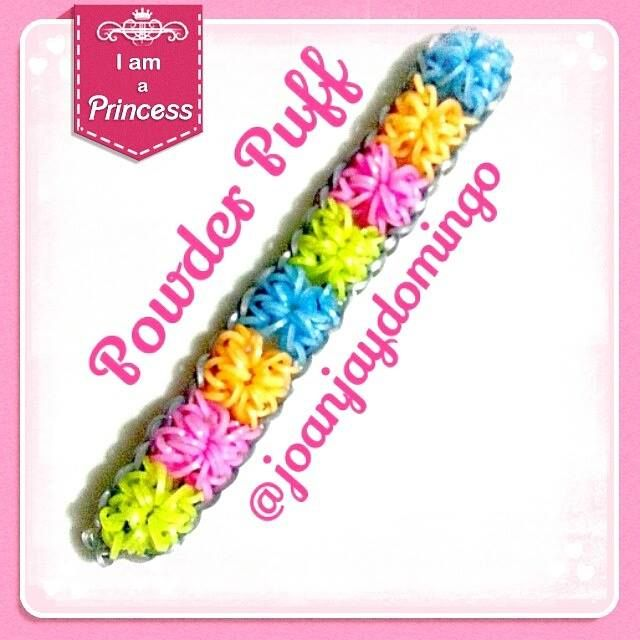 Rainbow Loom Powder Puff Bracelet by Joan Juan-Domingo - Tutorial: http://www.pinterest.com/pin/374291419004859103/