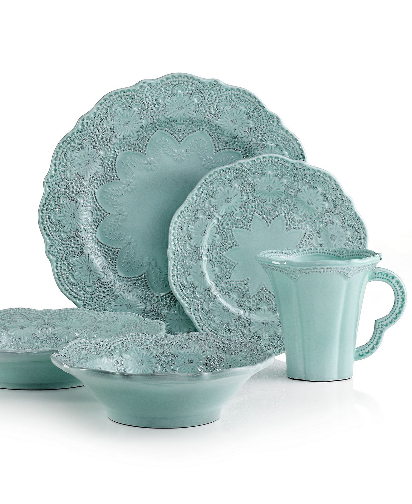 Handcrafted in the Italian tradition Merletto dinnerware from Arte Italica is intricately embellished with a lacy floral texture and painted a serene aqua ...  sc 1 st  Pinterest & Handcrafted in the Italian tradition Merletto dinnerware from Arte ...