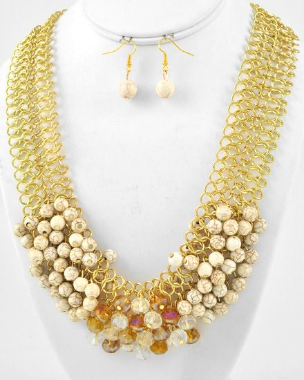 Gold Tone / Ivory Stone / Lead Compliant / Cluster Necklace & Fish Hook Earring Set
