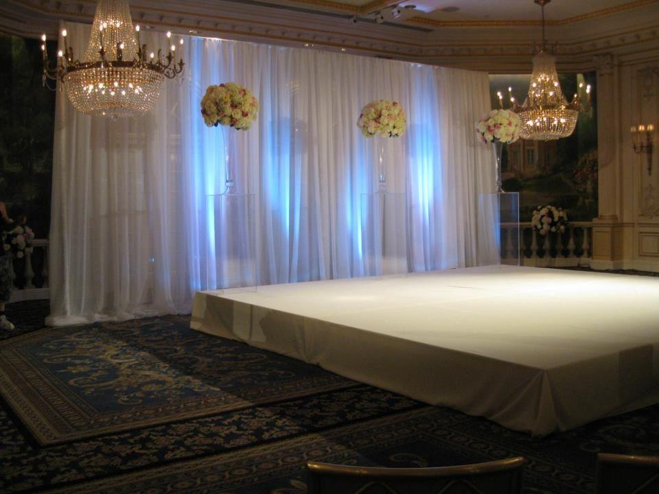 Elegant Drapery At Indoor Ceremony: Elegant & Simple Sheer Ivory Backdrop