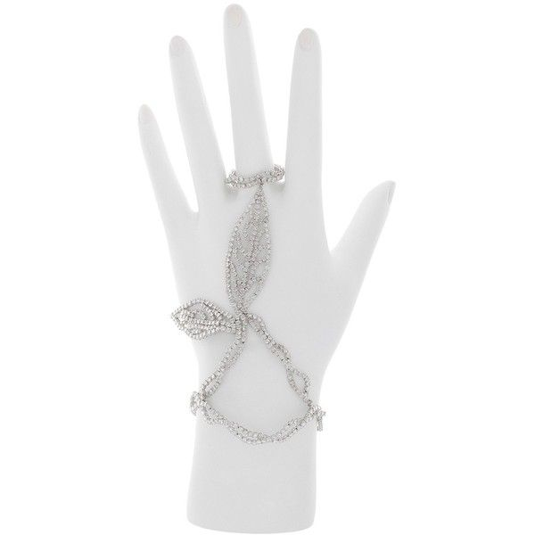 London Collection Platinum Diamond Leaf Hand Chain Bracelet Ring (451.780.355 VND) ❤ liked on Polyvore featuring jewelry, rings, hand chain ring, leaves ring, leaves jewelry, platinum rings and platinum diamond rings