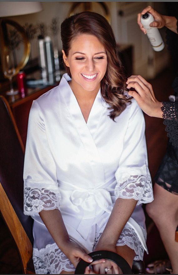 Quick Ship- Bride robe - the St. Tropez robe in Satin with lace trim ...