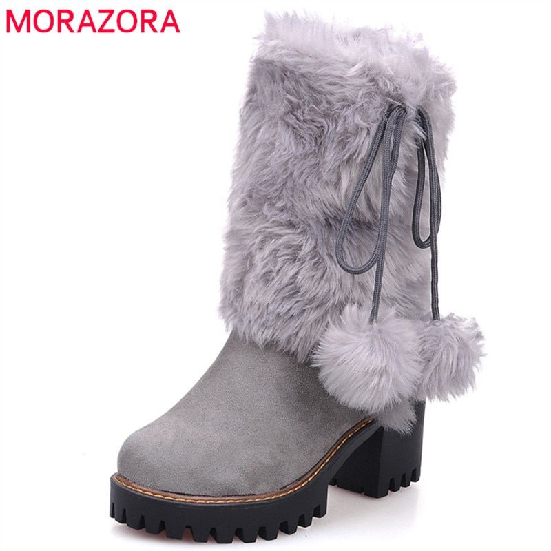 57af6417e7 MORAZORA 2018 new arival winter warm snow boots women round toe ankle boots  faux fur comfortable platform shoes ladies booties Review