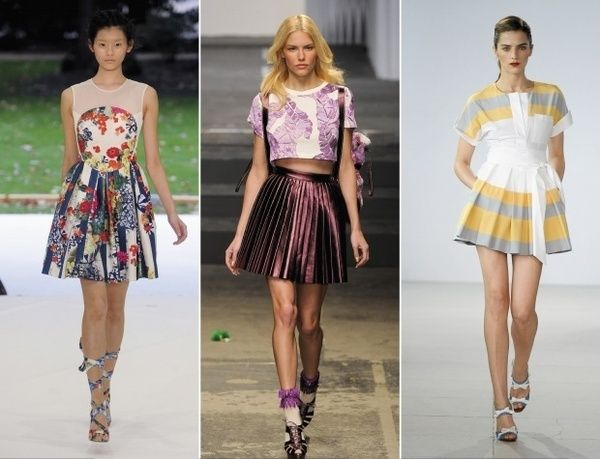 More amazing runway dresses. Its all about the prints. The suspender look may not be for most but the pleats are very on trend and look good on most women, whether accordion or kick pleats. spring-summer-2012-styles