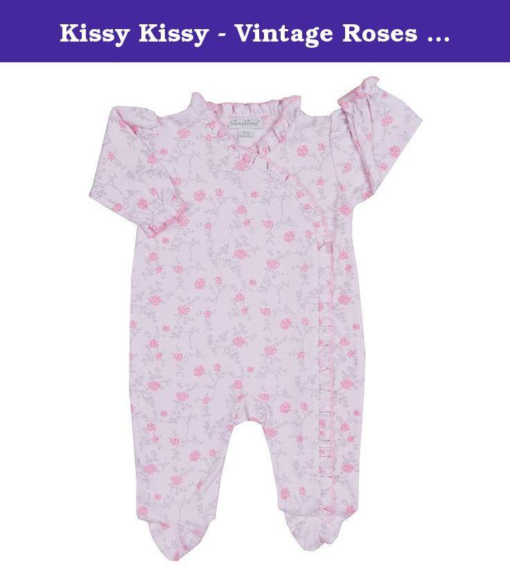 Kissy Kissy Baby Boys Rose Bows Footie W//Ruffle White Lt.Blue