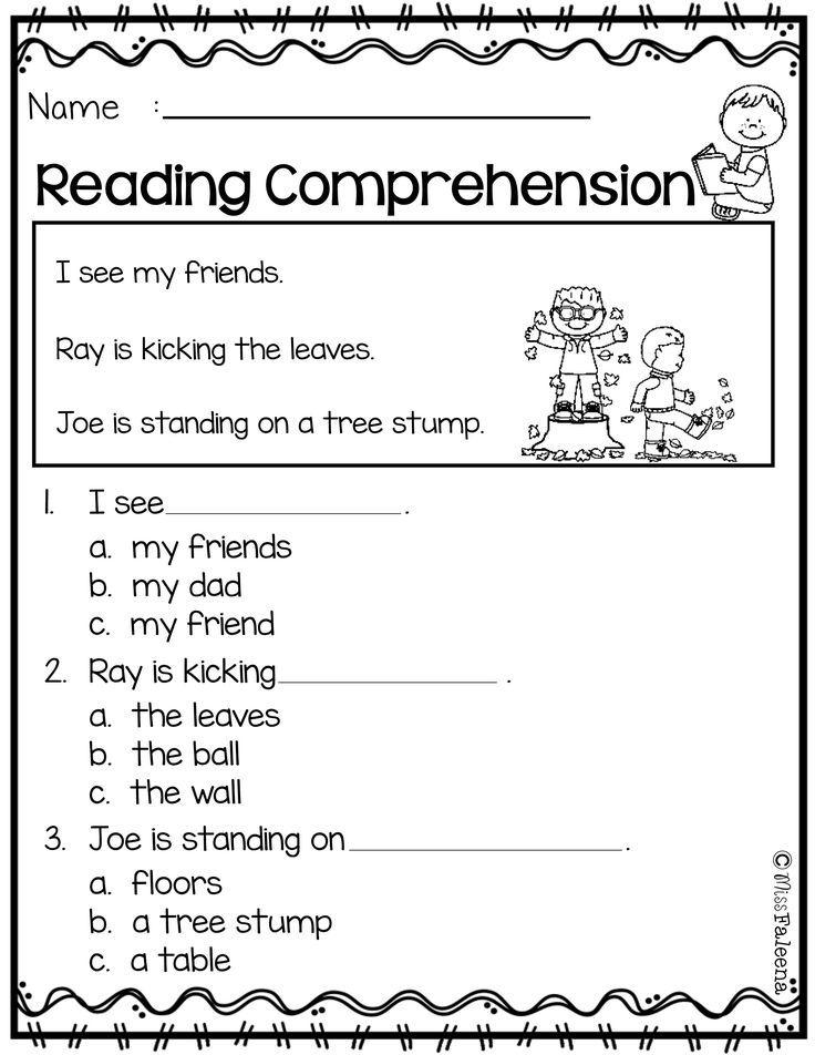 Free Reading Comprehension Kindergarten reading
