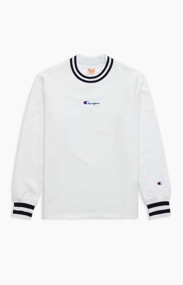 Reverse Weave Sweatshirt mit gestreiften Rippbündchen