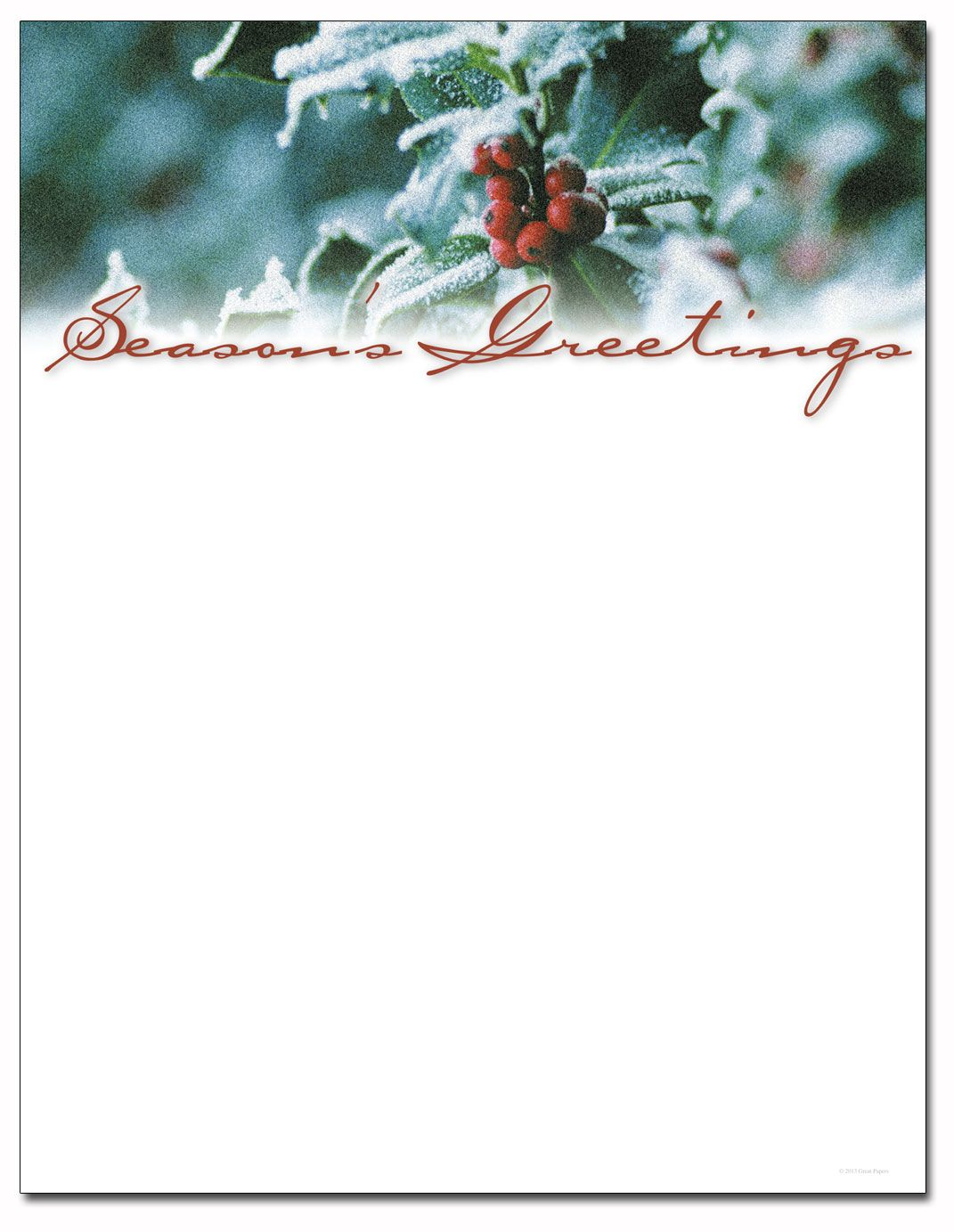 Holiday letterhead paper