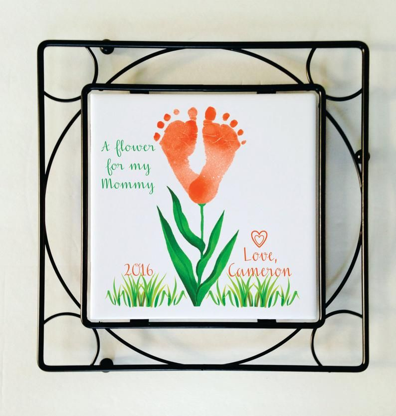 Photo of Baby Hand and Footprint Flower Art Plaque w Black Wrought Iron Frame/Trivet, Baby's Actual Hand or Footprints, Handprint Art, Special Gift