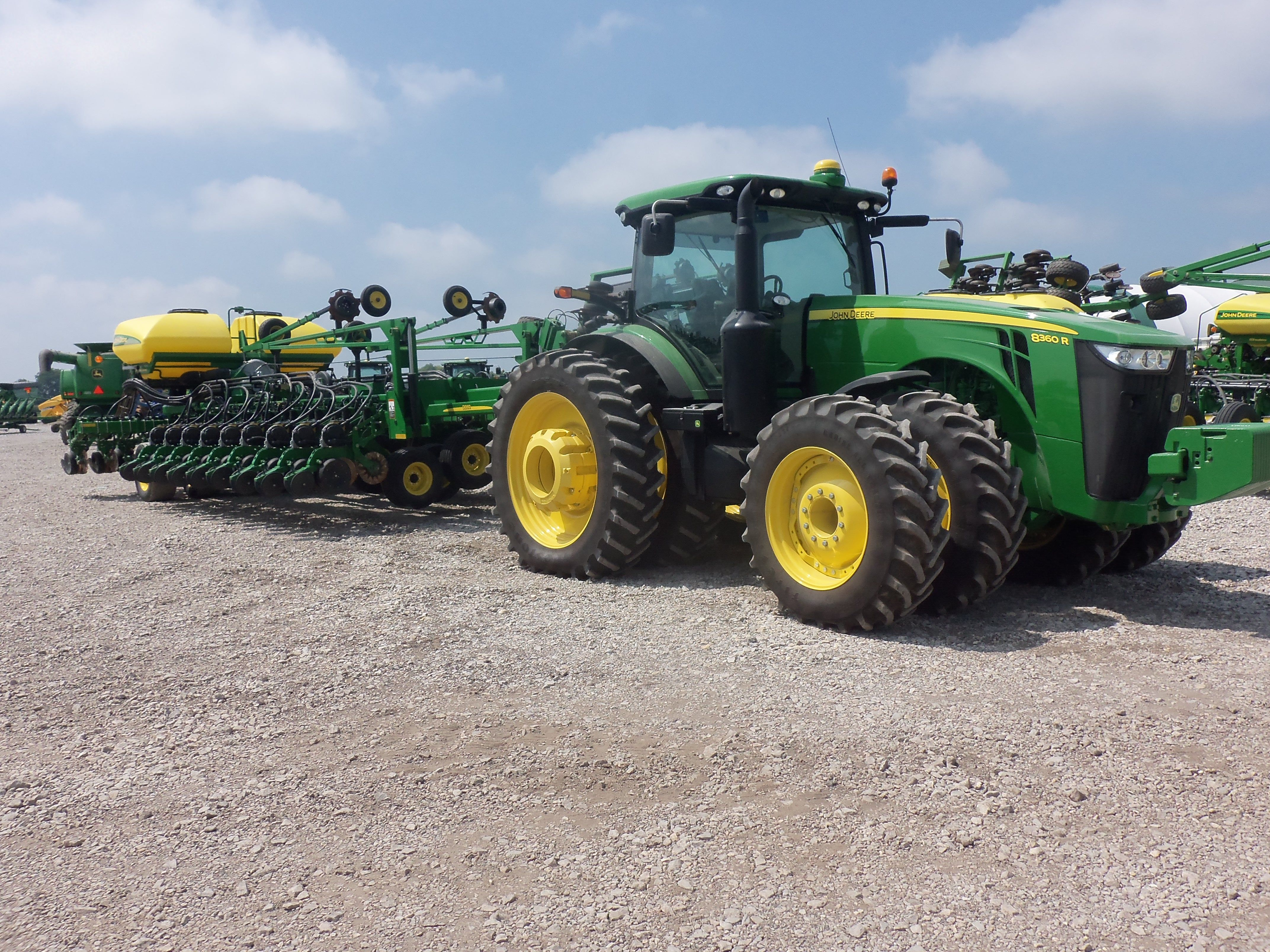 Great big John Deere combonation.8360R hooked to 48 row DB 60 corn planter