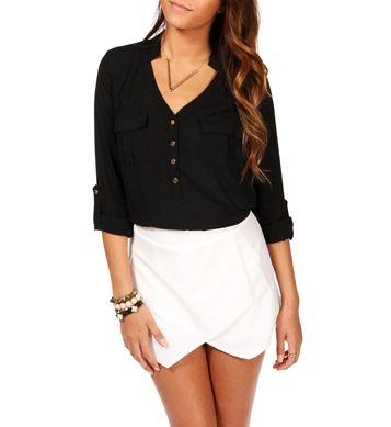 Black Long Sleeve Sheer Top