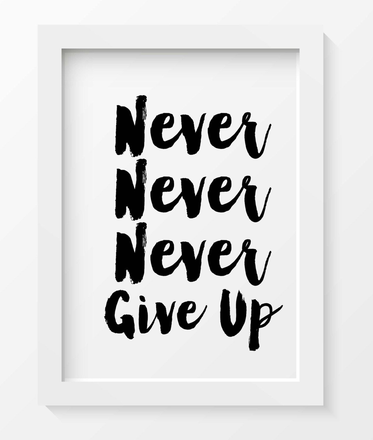 Never give up print typography art print motivational wall decor motivational quotes print inspirational quotes art office wall decor by