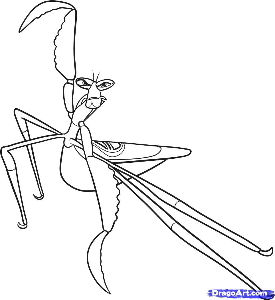 Printable coloring pages kung fu panda 2 - How To Draw Mantis Master Mantis Kung Fu Kung Fu Panda