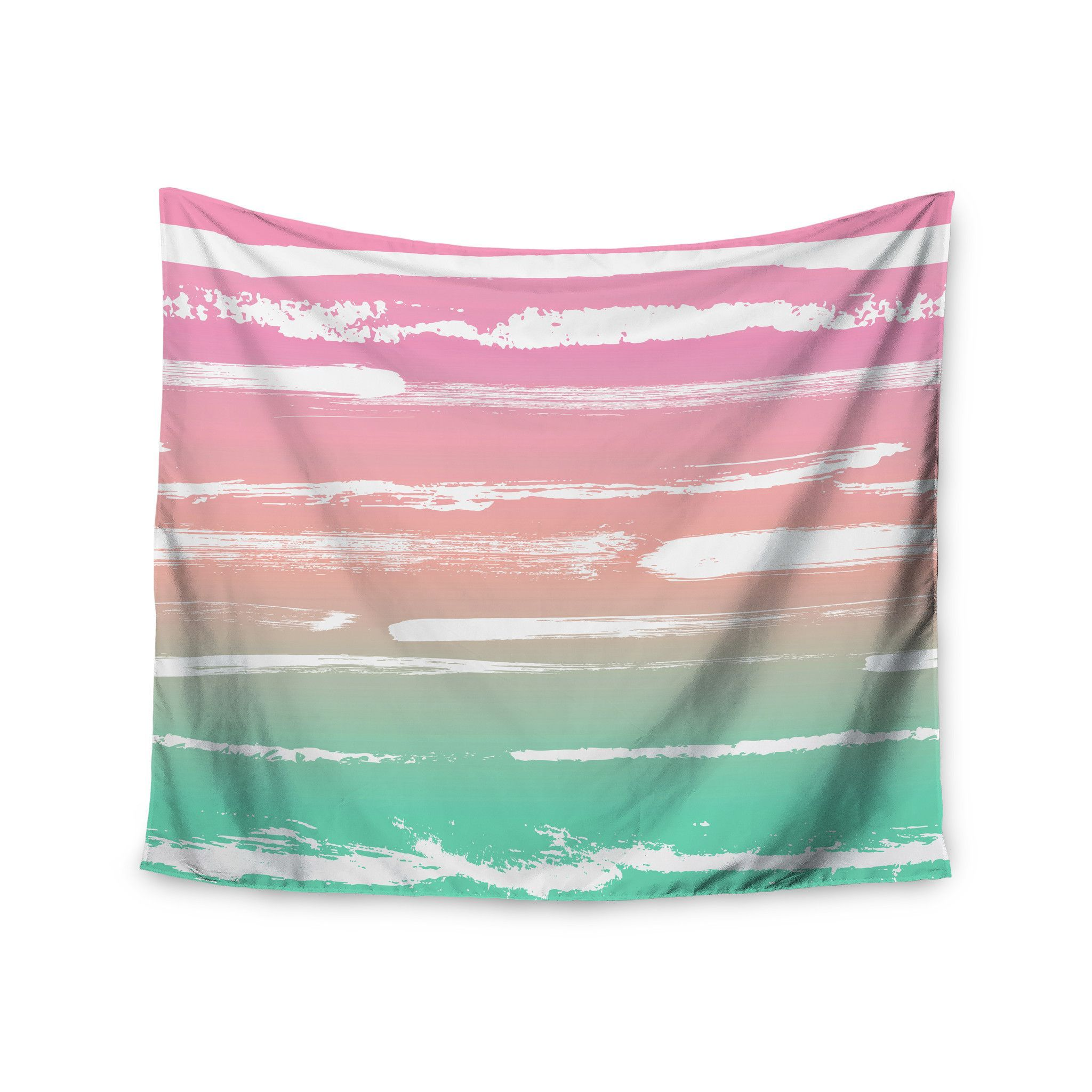 """Anneline Sophia """"Painted Stripes Pink"""" Green Pink Wall Tapestry"""