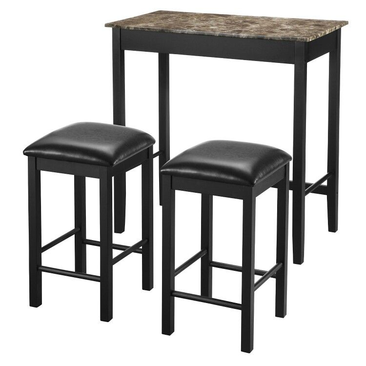 Compact but comfortable dining bar and chair height padded stools