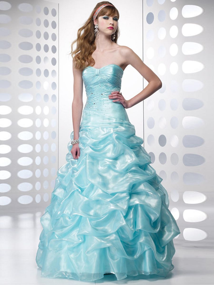 A Shiny Ice Blue Colored in Eye-Catching Taffeta Fabric Charming ...