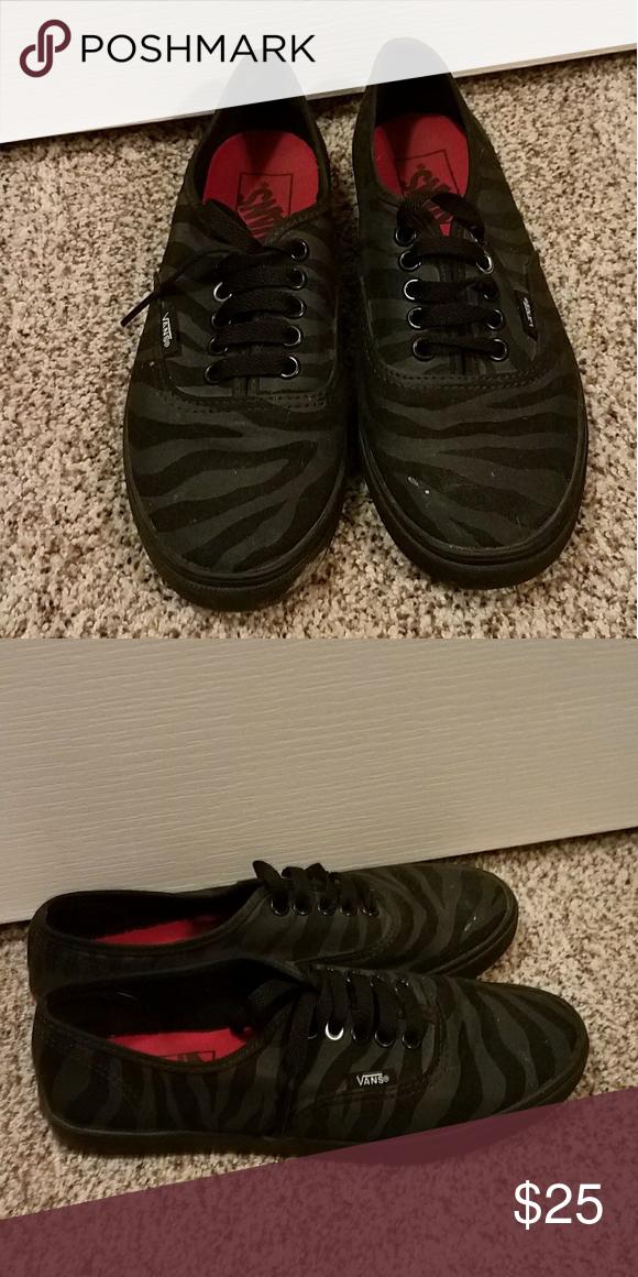 3d43fa9aec Zebra Vans All black zebra print vans Vans Shoes Sneakers
