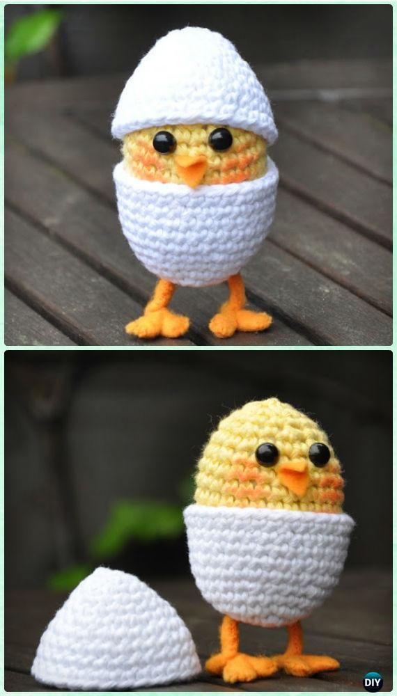 Crochet Amigurumi Baby Chicken en Huevo en las patas Patrón libre ...