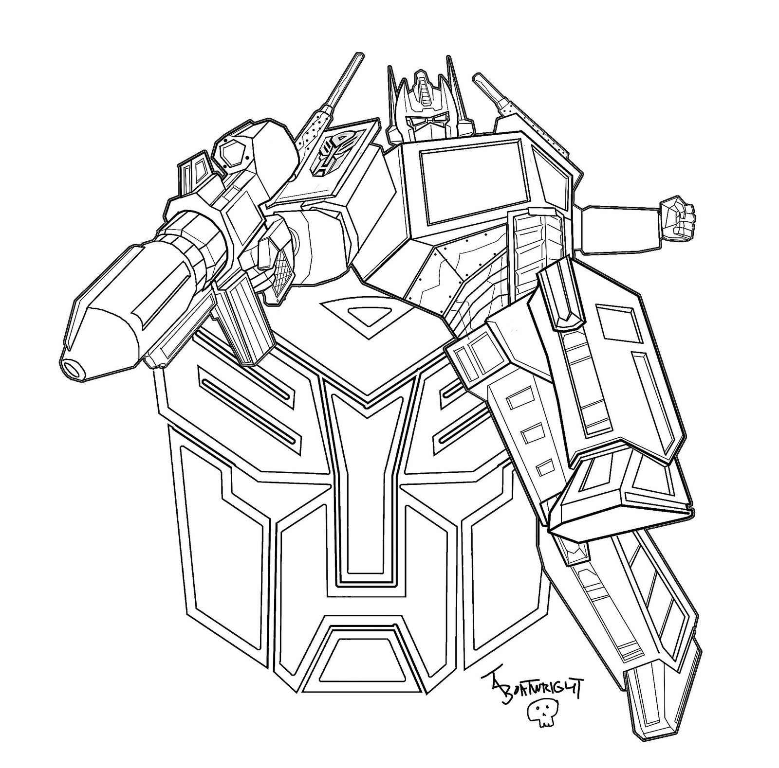 Optimus Prime Transformers Coloring Pages 1600×1579