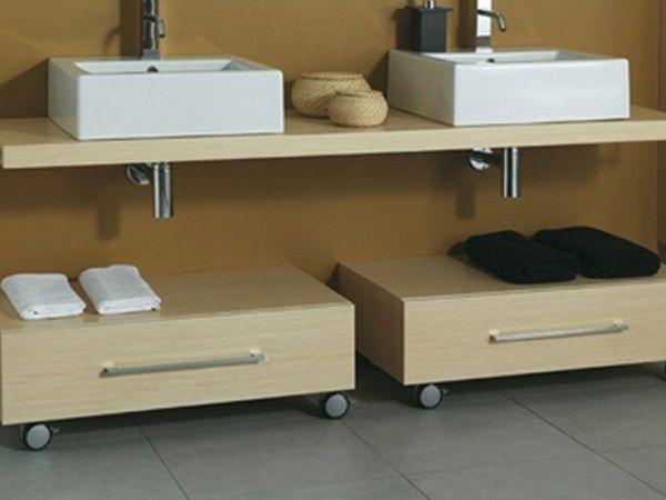 Mueble De Baño Bajo De Madera Con Ruedas Css B R La Bottega Di Mastro Fiore Muebles De Baño Muebles Bajo Lavabo Muebles