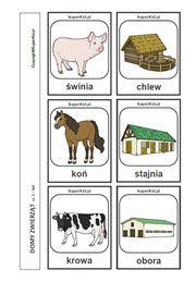 Domy zwierząt - arkusz nr 1 Edukacja, Montessori, Zwierzęta