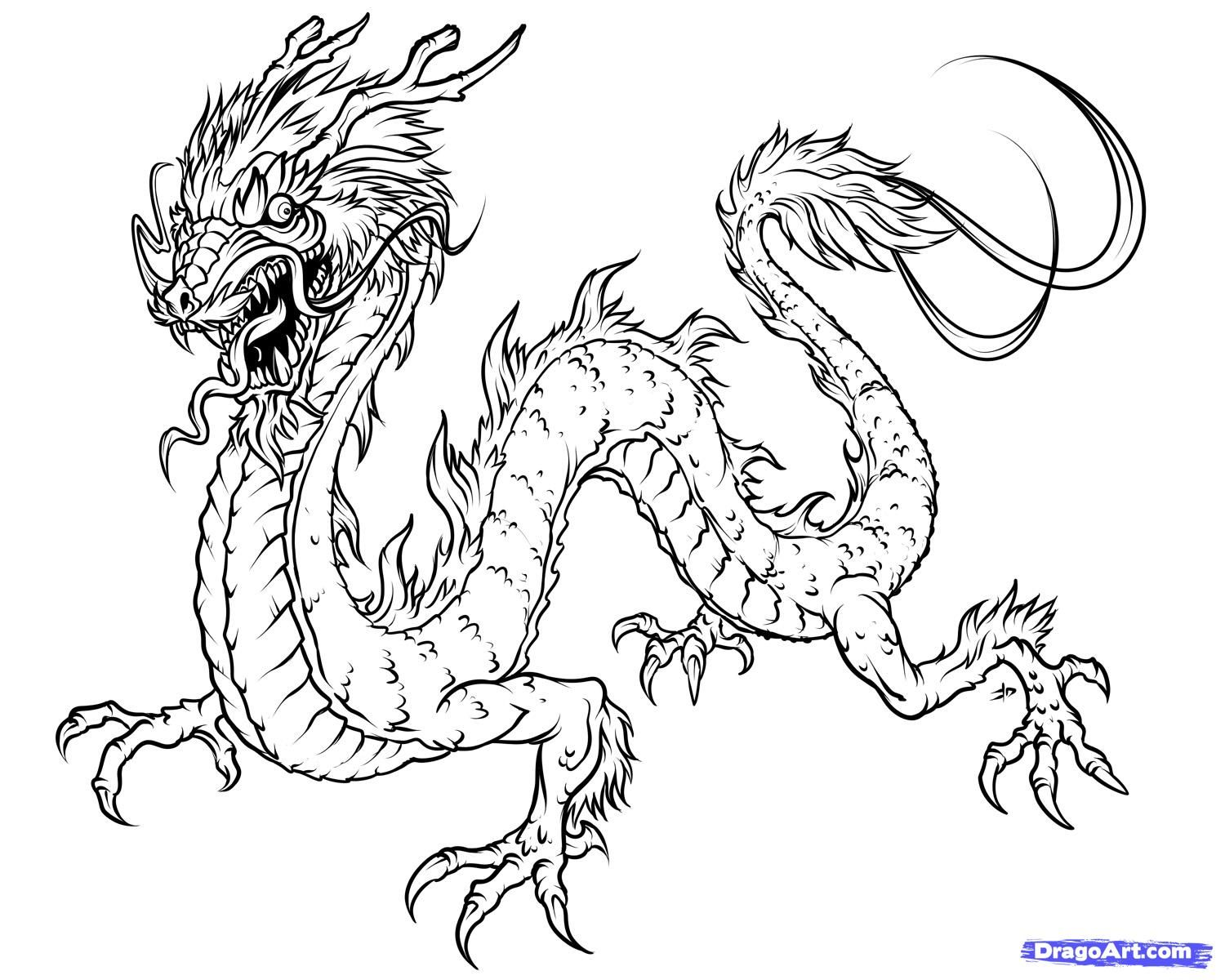 Free printable japanese coloring pages for adults - How To Draw A Japanese Dragon Coloring Sheets For Kidsfree Adult