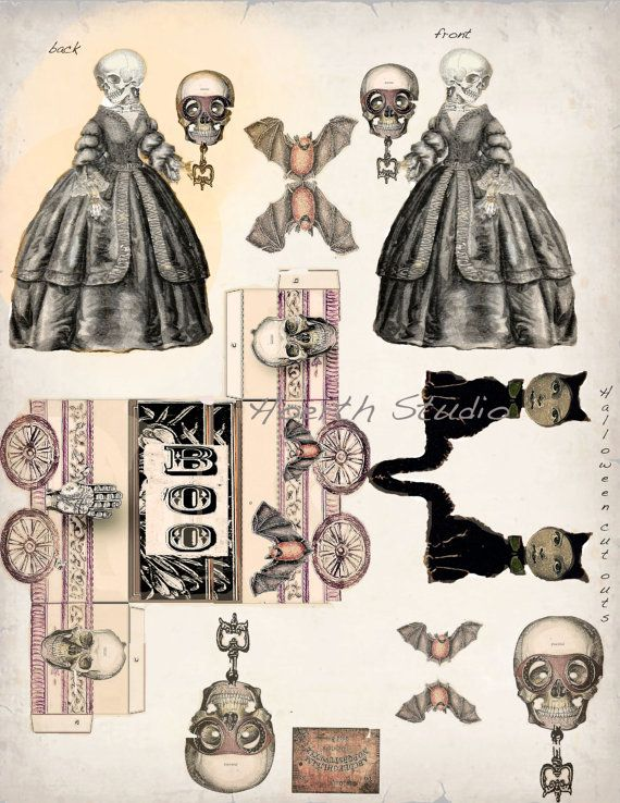Halloween Steampunk Gothic Paper Doll Collage Cut Outs