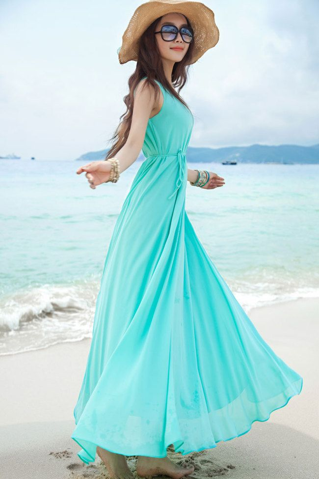 daf5293fec4cd Sexy Girl Beach Wear Solid Color Gowns Sleeveless Round Neck Maxi Dress on  Luulla