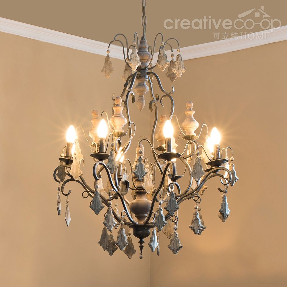 Wood beads painted crystals chandelier creative co op home wood beads painted crystals chandelier creative co op home arubaitofo Images