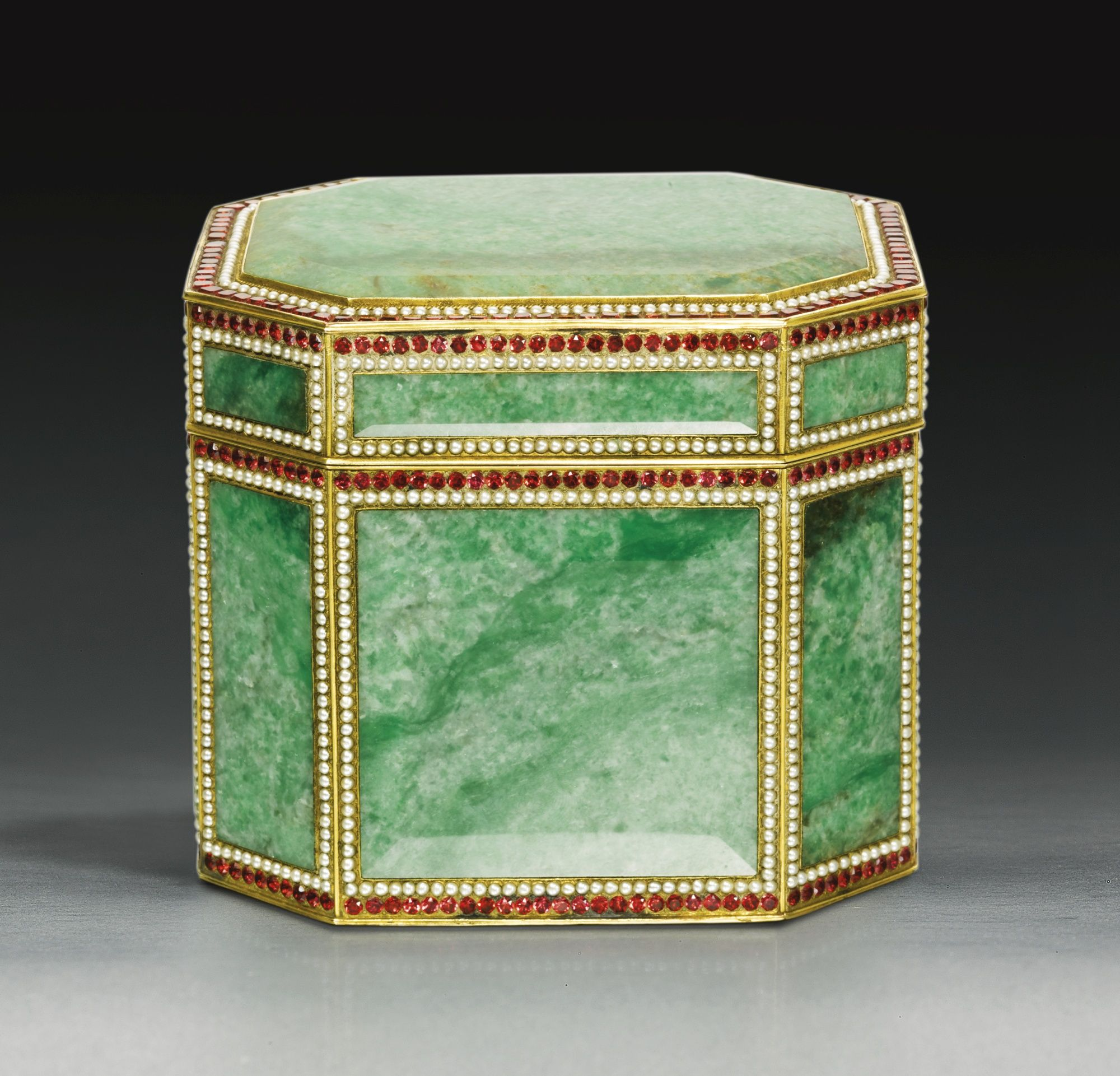 A rare Canton tribute embellished silver-gilt jadeite casket<br>Qing Dynasty, 19th century | Lot | Sotheby's