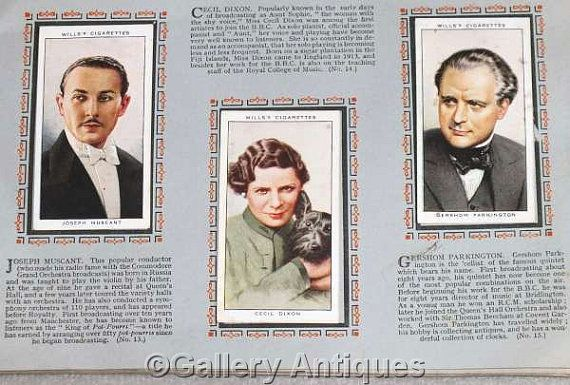 Vintage Radio Celebrities (A Series) Full Set of 50 Cigarette Cards in Original Album by W. D. & H. O. Wills Issued in 1934 (ref: 5012)
