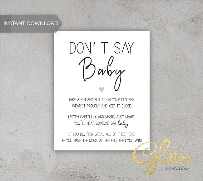 Dont Say Baby sign, Printable Diaper Pin, Clothes Pin Game, boy baby shower, cy044