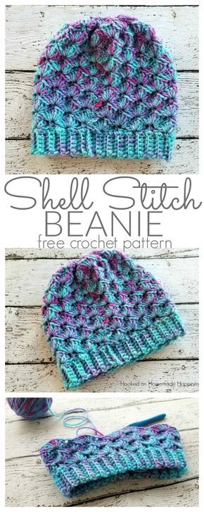 Shell Stitch Beanie Crochet Pattern - Hooked on Homemade Happiness