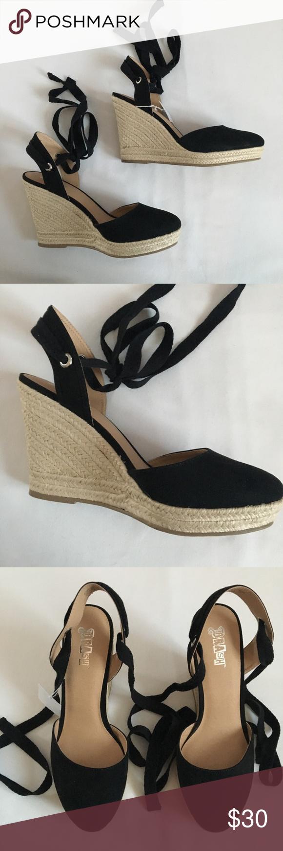 073264f59e9 NEW BRASH Black Wedge Sandals, Size 9 Woman's Escape Espadrille ...
