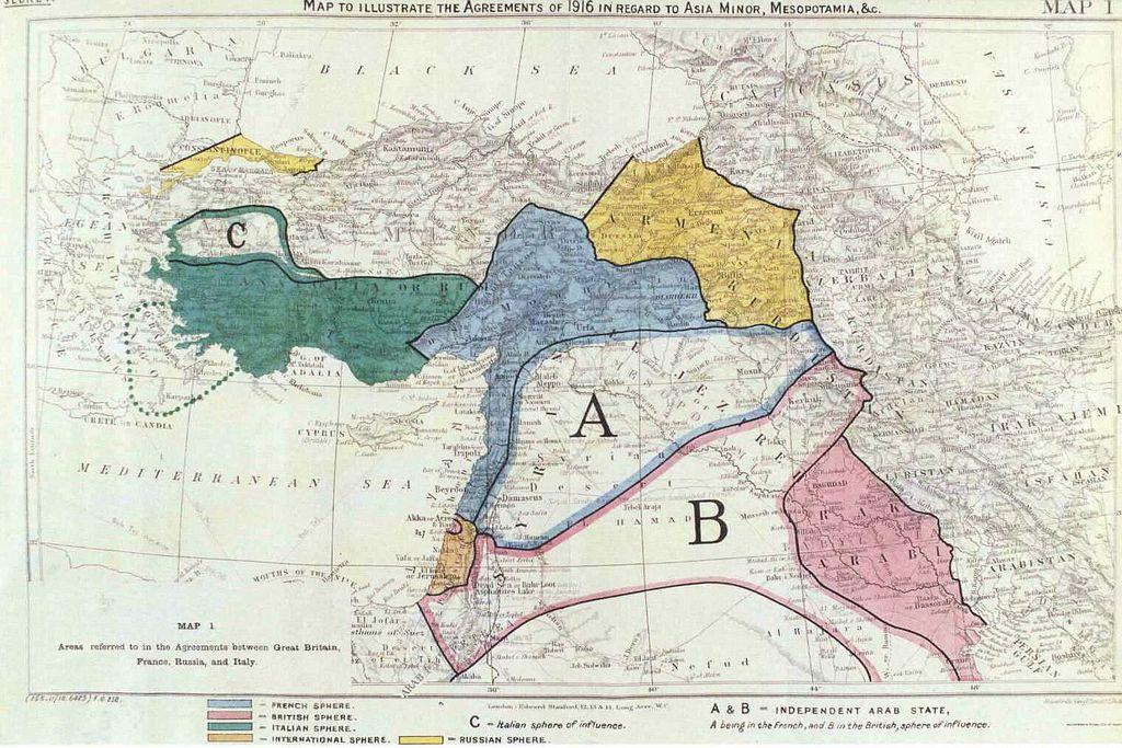 Mappa dellu0027accordo Sykes Picot 9 maggio 1916 Mappa