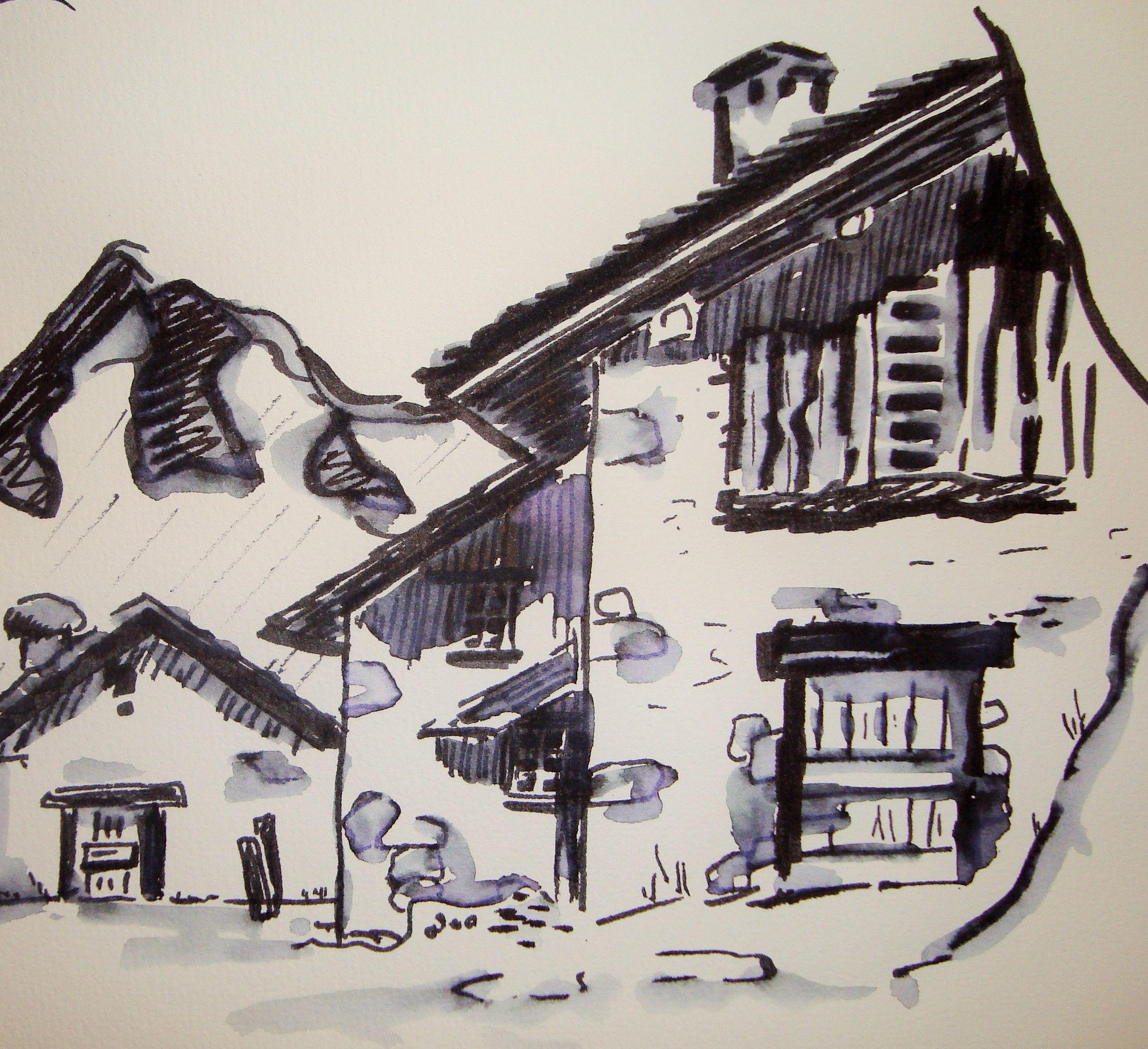 chalet de montagne (avec images) | Dessin aquarelle, Art ...